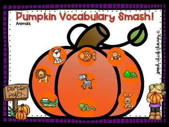 Pumpkin Vocabulary Smash Mats for Speech Therapy