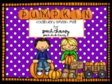 Pumpkin Vocabulary Smash Mats for Speech Therapy