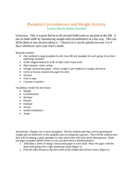 Pumpkin Weight and Circumference Activity