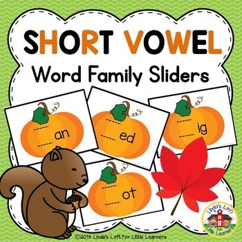 Pumpkin Short Vowel Word Family Sliders