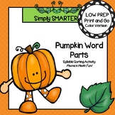 Pumpkin Word Parts:  LOW PREP Syllable Sorting Activity