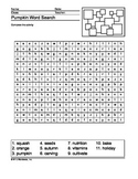 Pumpkin Word Search Printable