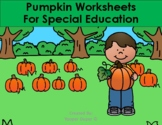 Pumpkin Worksheets for Special Education