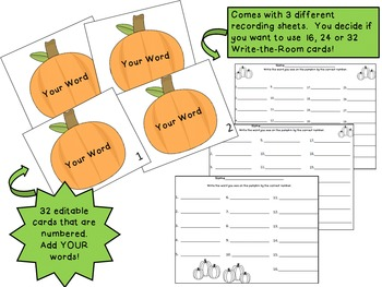 Pumpkin Write-the-Room {Editable with your own words!}