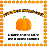 Halloween Writing Pack -- Pumpkin Border Paper & Prompts