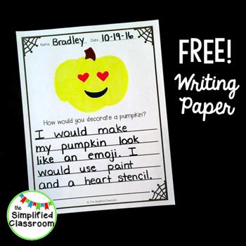 Pumpkin Writing Paper {FREEBIE!}