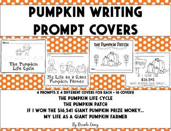 Pumpkin Writing Prompt Cover Pages - Color and Hang Above Writing!