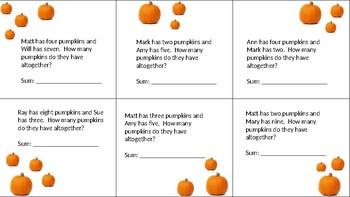 Pumpkin addition word problems (more than 5, less than 20 as sum)