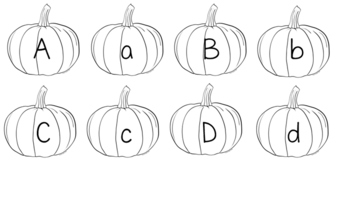 Pumpkin alphabet capital and lower case and numbers 1-10