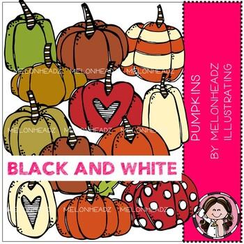 Pumpkin clip art - BLACK AND WHITE - Melonheadz Clipart