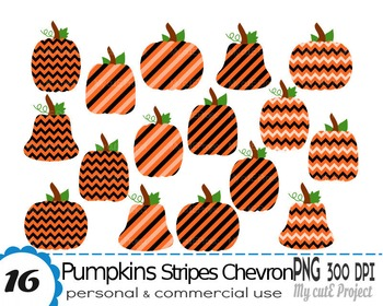 Pumpkin clipart - Chevron Stripes - Clipart Halloween - Scrapbooking halloween -