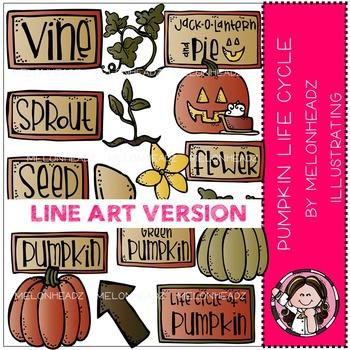 Pumpkin life cycle clip art - LINE ART - by Melonheadz