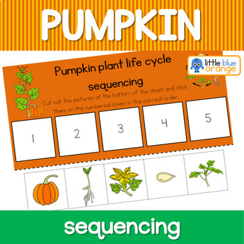 Pumpkin life cycle sequencing activity worksheet