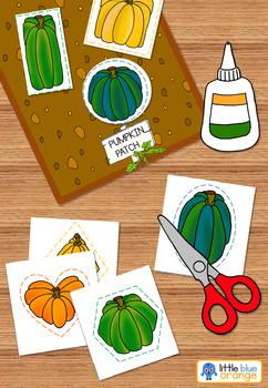 Pumpkin math center shapes - pumpkin cutting