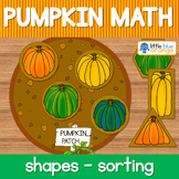 Pumpkin math center shapes - pumpkin patches shape sorting