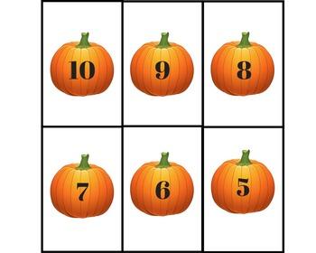 Pumpkin memory game for numbers1 -10