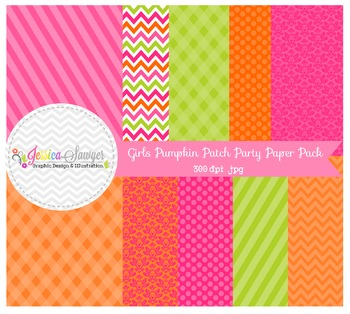 Pumpkin patch party digital papers, for personal use, comm