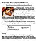 Pumpkin pie - Non-fiction text with Common Core-aligned questions!