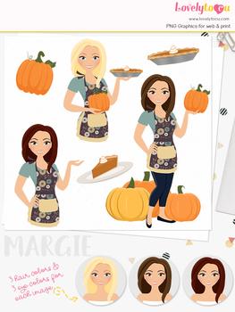 Pumpkin pie woman character clipart, thanksgiving girl clip art (Margie L325)