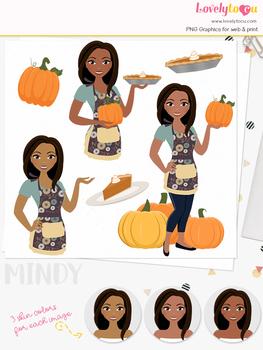 Pumpkin pie woman character clipart, thanksgiving girl clip art (Mindy L326)