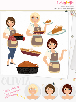 Pumpkin pie woman character clipart, thanksgiving girl clip art (Olivia L327)