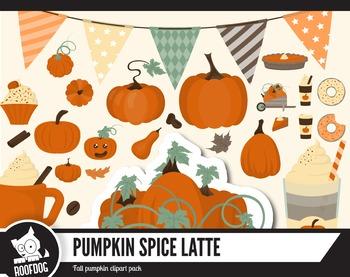 Pumpkin spice latte clipart pack