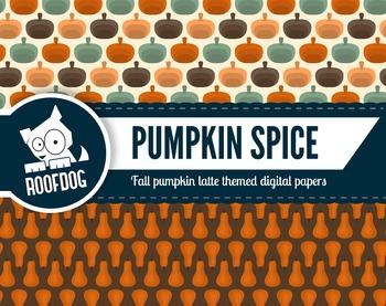 Pumpkin spice latte themed digital papers   fall pumpkin coffee spice patterns
