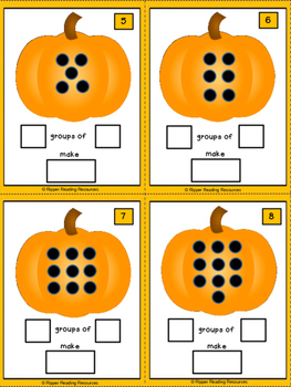Pumpkin subitising task cards - moving from additive to multiplicative thinking