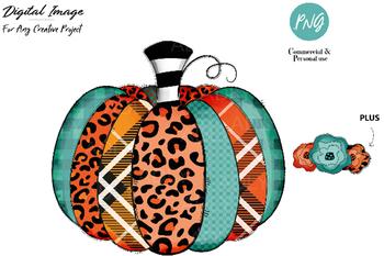 Pumpkin sublimation, pumpkin HTV transfer image with leopard orange turuqoise
