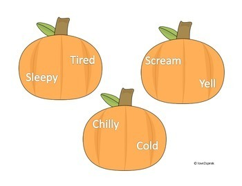 Pumpkin Synonym and Antonym Game/Activity and Worksheet