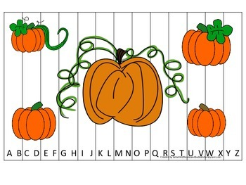 Pumpkin themed Alphabet Sequence Puzzle preschool learning activity. Daycare.