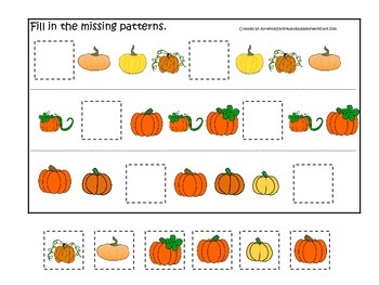 Pumpkin themed Fill in the Missing Pattern preschool learning activity. Daycare.