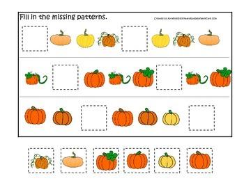 Pumpkin themed Fill in the Missing Pattern preschool learn