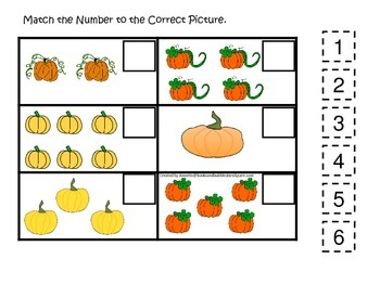 Pumpkin themed Match the Number preschool learning activity.  Educational game.