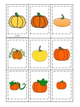 Pumpkin themed Memory Matching preschool learning activity.  Educational game.
