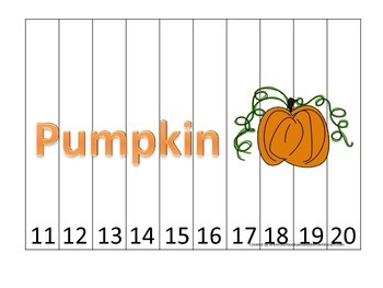 Pumpkin themed Number Sequence Puzzle 11-20 preschool learning activity. Daycare