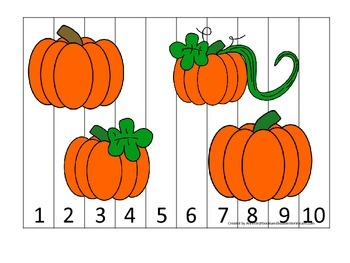 Pumpkin themed Number Sequence Puzzle 1-10 preschool learning activity. Daycare.