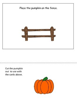 Pumpkin themed Positional Cards preschool learning activity.  Educational game.
