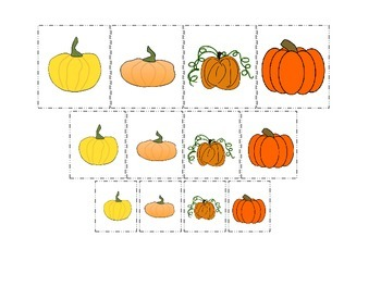 Pumpkin themed Size Sorting preschool learning activity.  Educational game.