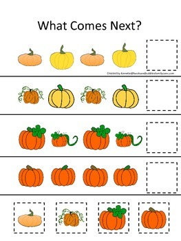 Pumpkin themed What Comes Next preschool learning activity.  Educational game.