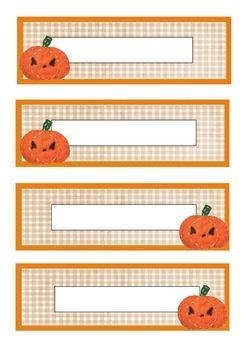 Pumpkin themed printable classroom labels