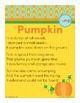 Pumpkin - ump Word Family Poem of the Week