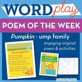 Pumpkin - ump Word Family Poem of the Week - Short U Fluency Poem