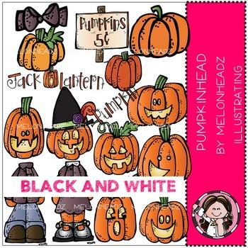 Pumpkinhead clip art - BLACK AND WHITE- by Melonheadz