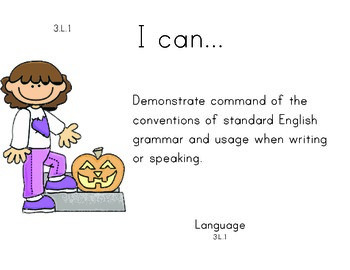 Pumpkinkids 3rd grade English Common core standards posters