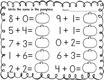 Pumpkin Math Center Bundle for Addition and Subtraction