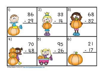 Pumpkins 2 Digit Subtraction Regrouping Task Cards