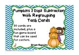 Pumpkins 2 Digit Subtraction Regrouping Task Cards