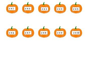 Pumpkins 2 Times Table Game (File Folder)