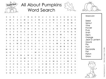 Pumpkins Activity | Pumpkins Word Search